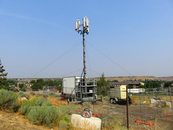 Sprint deployed this ''cell on wheels'' to boost capacity in Madras, Oregon, for the upcoming solar eclipse.