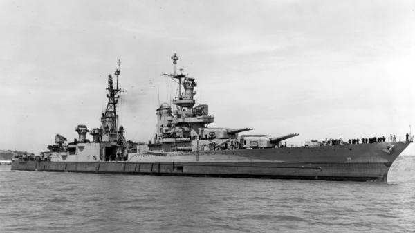 In this July 10, 1945, photo provided by U.S. Navy media content operations, USS Indianapolis (CA 35) is shown off the Mare Island Navy Yard, in Northern California, 20 days before it was sunk by Japanese torpedoes.