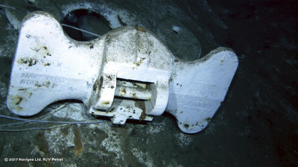 "This undated image from a remotely operated vehicle courtesy of Paul G. Allen, shows the bottom of an anchor, marked ""U.S. Navy"" and ""Norfolk Navy Yard,"" belonging to the USS Indianapolis."