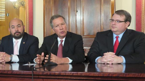 (from left to right) House Speaker Cliff Rosenberger (R-Clarksville), Gov. John Kasich, Senate President Larry Obhof (R-Medina)