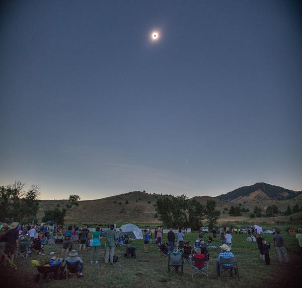 Hundreds of people gathered  at the Atlas Obscura Eclipse Festival in Durkee, Oregon, to witnesss the total solar eclipse.