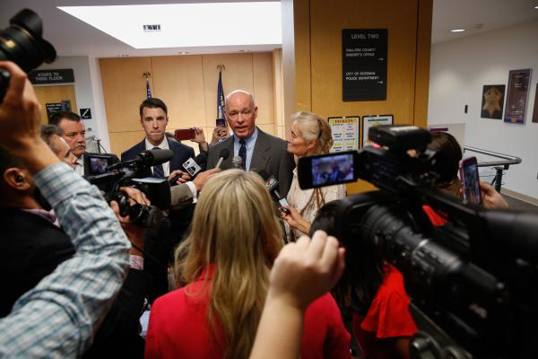 Gianforte speaks to media after his court appearance, Monday, June 12, 2017.