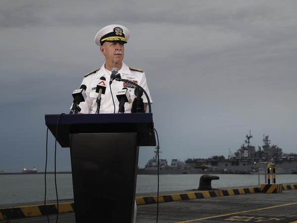 Commander of the U.S. Pacific Fleet, Adm. Scott Swift, answers questions during a news conference on Tuesday.