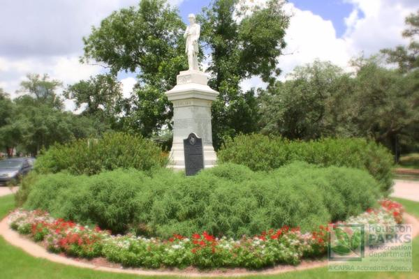 A Houston man is accused of trying to damage or destroy a monument to Confederate Gen. Dick Dowling at Hermann Park.