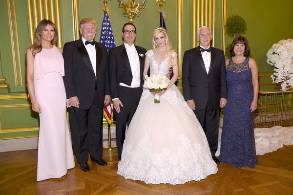 First lady Melania Trump, President Trump, Secretary of the Treasury Steven Mnuchin and wife Louise Linton, Vice President Pence and second lady Karen Pence are photographed at Mnuchin and Linton's wedding on June 24 in Washington, D.C.