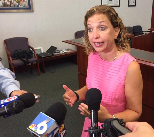Congresswoman Debbie Wasserman Schultz addresses reporters at Nova Southeastern University in Davie on Aug. 22, 2017.
