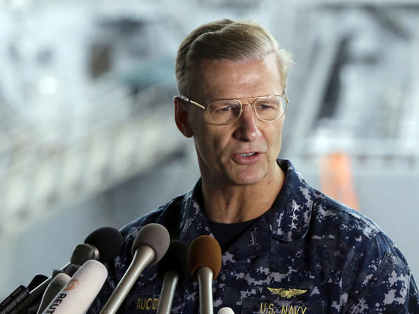 U.S. Navy Vice Adm. Joseph Aucoin, commander of the U.S. 7th Fleet, speaks during a news conference in June after the USS Fitzgerald collided with a container ship off Japan.