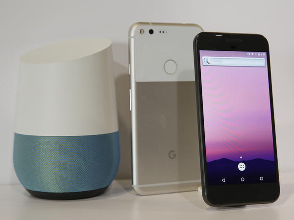 Walmart customers will be able to place an order by simply saying it out loud, using either the voice-activated speaker Google Home (left) or the Google Assistant app.
