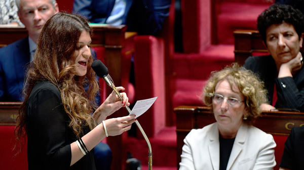 Marlene Schiappa addresses deputies during a session of the French National Assembly on July 5.