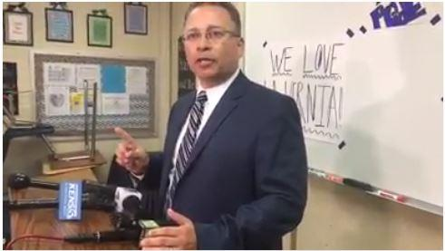 La Vernia ISD Superintendent Jose Moreno gives a statement to the media at a specially called board meeting Monday night, April 3, 2017