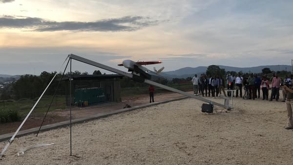 A Zipline drone is launched in Rwanda. The company is now expanding to set up a national network in Tanzania.