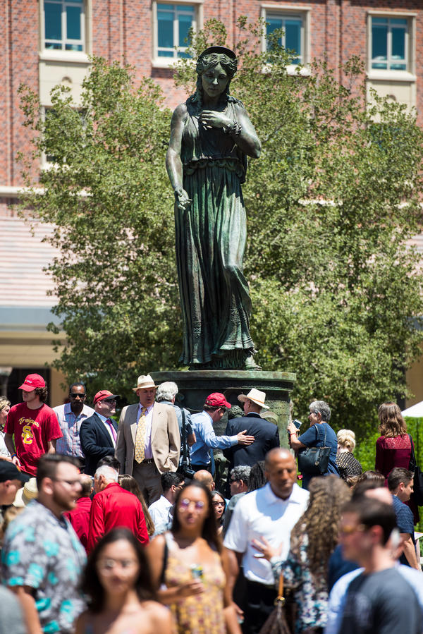 USC says it deliberately chose an alternate spelling of the Bard's name for the base of the Hecuba statue.