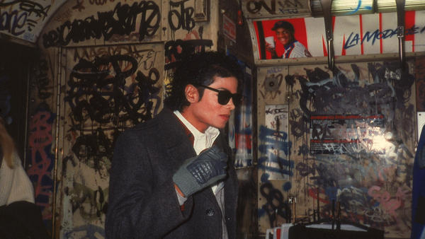 "Michael Jackson on location in a subway car while filming the video for <em></em>""Bad"" in November, 1986."