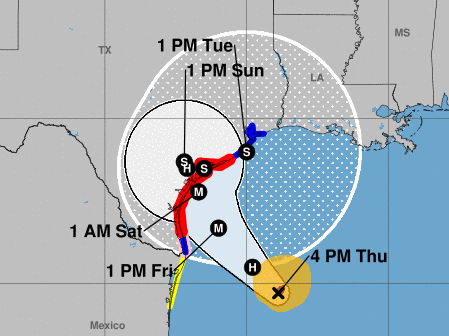 Harvey is expected to rapidly intensify into a major hurricane before it hits the middle of the Texas coast late Friday, according to the National Hurricane Center.