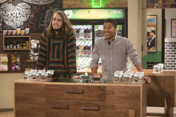Dougie Baldwin (left) and Aaron Moten are two of the stars in the new Netflix comedy <em>Disjointed, </em>which is set in a medical marijuana dispensary.