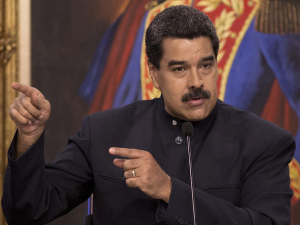 Venezuelan President Nicolas Maduro speaks at a news conference in Caracas, Venezuela, on Tuesday.