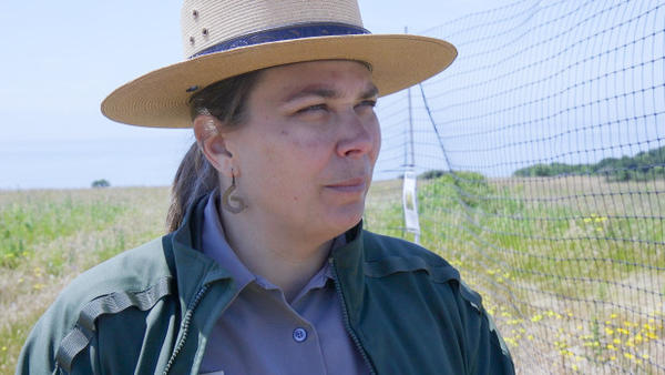 <p>Standing outside of the research plots, Park Superintendent Elexis Fredy wonders how an island marble conservation plan will compete with other park wildlife, visitors and priorities.</p>