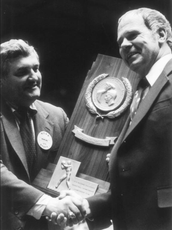 Jud Heathcote (right) led MSU to its first national championship win in 1979.