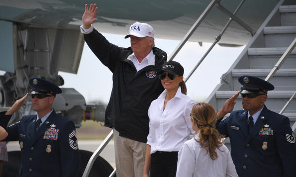 President Trump and first lady Melania Trump arrive in Corpus Christi, Texas, on Tuesday.