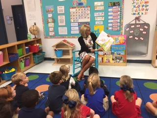 Education Secretary Betsy DeVos reads to a kindergarten class at Holy Comforter Episcopal School.