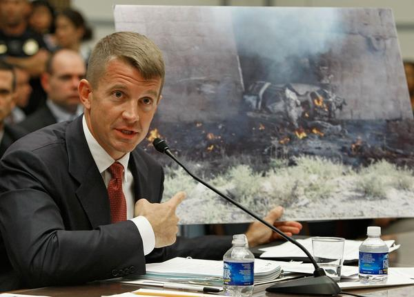 Erik Prince, then-chairman of the Prince Group LLC and Blackwater USA, testifies during a House Oversight and Government Reform Committee hearing on Capitol Hill in 2007.