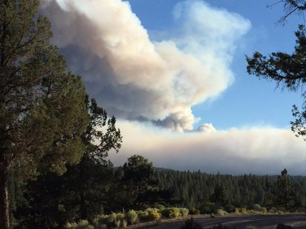 <p>Smoke from the Milli Fire as seen from Sisters, Oregon, Friday, Aug. 18, 2017.</p>