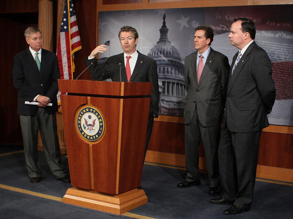From left to right, Sen. Lindsey Graham, R-S.C., Sen. Rand Paul, R-Ky., Sen. Jim DeMint, R-S.C., and Sen. Mike Lee, R-Utah participate in a news conference on Medicare reform on Capitol Hill March 15, 2012 in Washington, DC. Sen. Paul unveiled a Medicare reform plan that would allow seniors to join their Member of Congress's health plan.