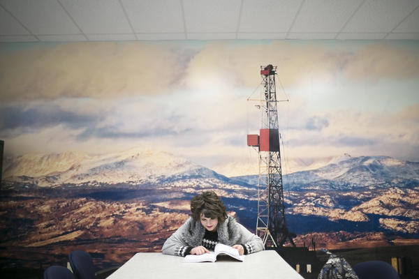 Katie Plas, a junior petroleum engineering major at Marietta College, studies before class.