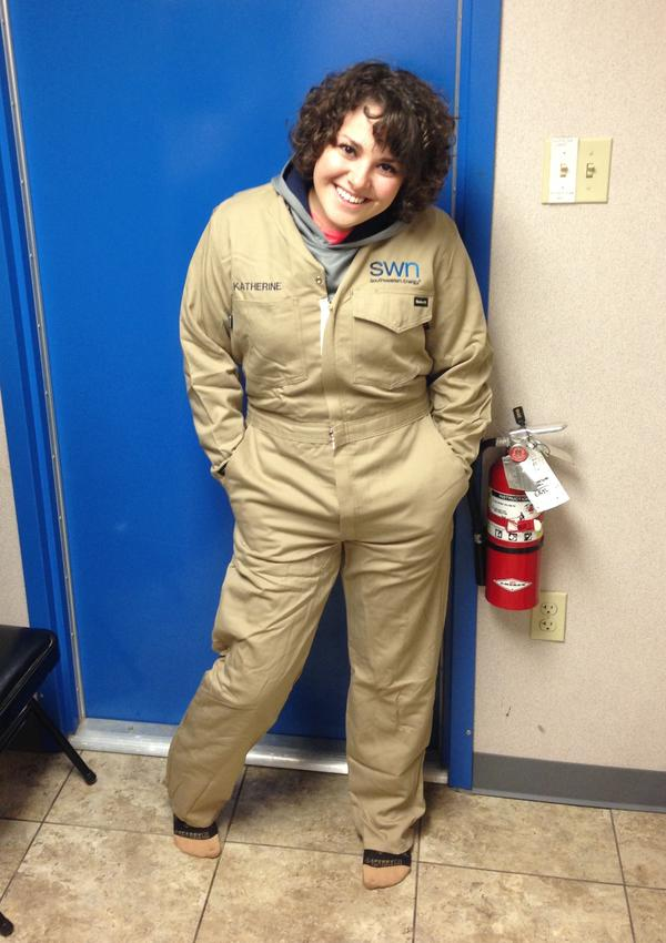 Plas poses in her FRCs (flame retardant clothing) last year during an internship at Southwestern Energy in Arkansas.