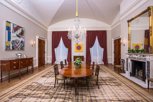 Alma Thomas' artwork <em>Resurrection</em> adorns the far wall of the Old Family Dining Room of the White House.