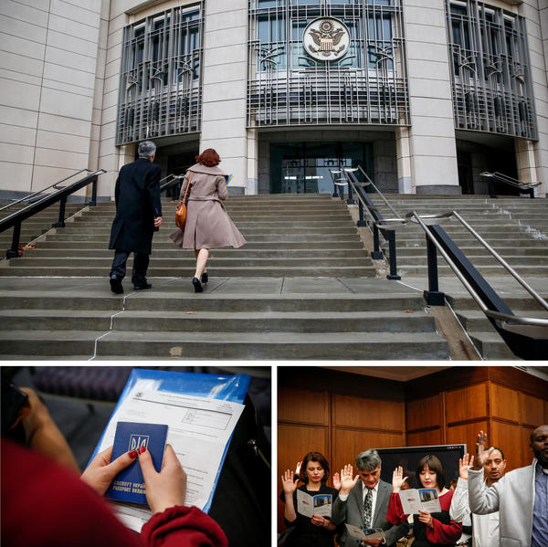 """(Top) Erkin and Limara Rahimov enter the Charles Evans Whittaker U.S. Courthouse. (Bottom left) Sabikha holds her old Ukrainian passport. """"I'm so excited!"""" Sabikha says, gleefully. """"I want to make this country better. It gave so much to me. I want to give back."""" (Bottom right) New citizens recite the oath of allegiance, pledging to support and defend the Constitution and laws of the United States."""