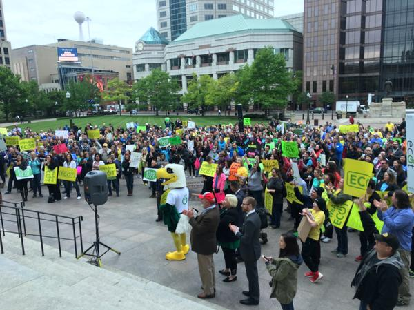 Several hundred students, parents and teachers rallied for ECOT at the Statehouse.