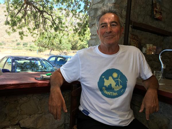 Tilos deputy mayor Andreas Fillipou, 56, is among many islanders sporting a #Proud4Tilos T-shirt to celebrate the tiny Aegean island's move to only use renewable energy.