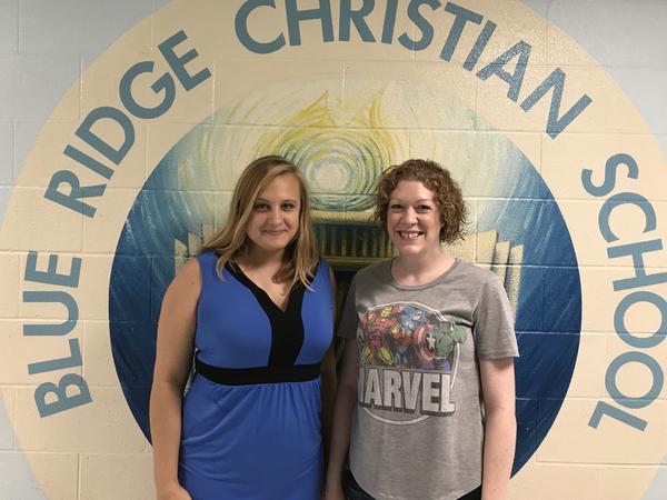 Sarah McCammon, left, and Sarah Helmering at Blue Ridge Christian School.