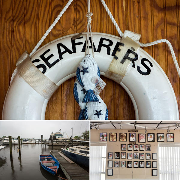 Clockwise from top: A life preserver bearing Seafarers' name hangs on the wood-paneled wall of the clubhouse; Photographs of past Seafarers' commodores and members hang on the wall inside the clubhouse; Boats are docked at Seafarers in the Anacostia River.