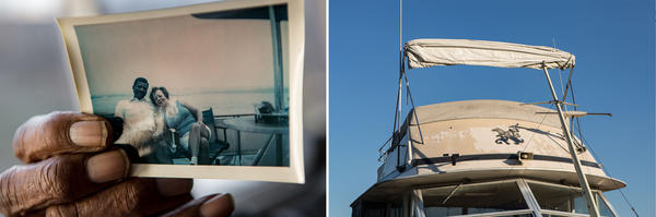 """Left: Charles """"Bob"""" Martin, 87, holds a photograph of himself with his late wife Natatchia. Martin has named four of his boats after her. Right: Martin's current boat, Natatchia IV, is docked at Seafarers today. He doesn't take the vessel, which is over 40-feet long, out much anymore, but he still visits the club nearly every day.<strong> </strong>"""
