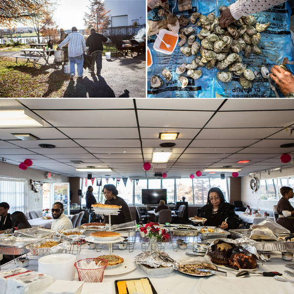 The clubhouse at Seafarers has been host to everything from Thanksgiving dinner, to Friday night dances, to funeral repasts. Here, some Seafarers members and their families celebrate Thanksgiving with an oyster roast (top) and a traditional Thanksgiving meal.