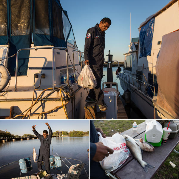 """James """"AJ"""" Hall fishes from his boat in 2015. Many people fish from the historically polluted Anacostia River, but there are consumption advisories posted in English and Spanish along shoreline, """"A consumption advisory is in effect for fish caught in these waters,"""" the signs read, prompting anglers to check their fishing licenses or go online to see if their catch is safe to eat."""