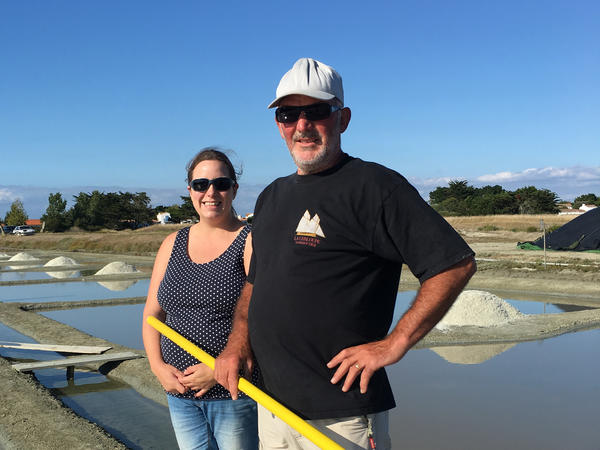 Jessica Tessier, with her father, Jean Pierre, never thought she would become a <em>saunier,</em> but she came back to the island four years ago and stayed because she felt life was so pleasant.