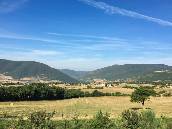 After a series of big tremors last August, Norcia's small community of Benedictine monks sought shelter on the mountainside high above the town. An earthquake devastated the town, seen here from the mountainside, in October.
