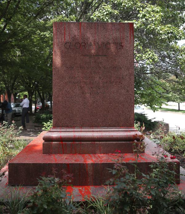 Red paint was thrown on the pedestal in Baltimore where the Confederate Soldiers and Sailors Monument once stood before city workers removed the statue on Aug. 16.