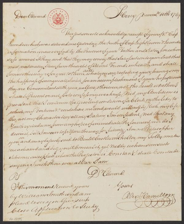 <em></em>An early letter, written when Hamilton was 12 years old — note the curlicued signature, and the fine handwriting honed at his clerking job.