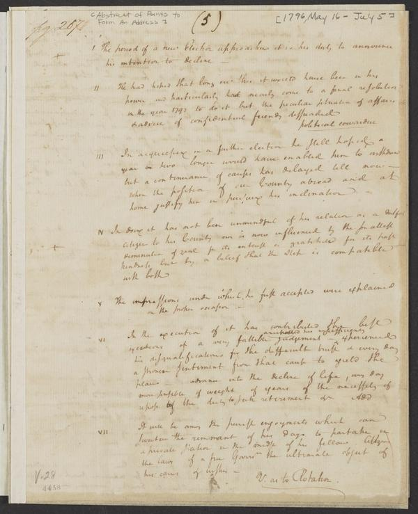 Hamilton's notes for a draft of George Washington's farewell address, 1796.