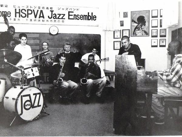 Houston's High School for the Performing and Visual Arts jazz ensemble in 1997. From left to right, Mark Kelly, Kendrick Scott, Mckenzie Smith, George Rambow, Dustin Drews, Robert Morgan, director, Walter Smith III, Mike Moreno, Richard Cruz, and Robert Glasper.