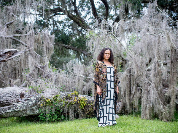 Jesmyn Ward poses for a portrait near DeLisle Bayou in DeLisle, Miss. Ward, 40, has chosen to return to DeLisle and raise her children there, despite her profound ambivalence about what the town represents.