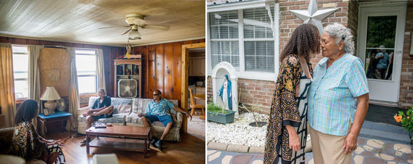 (Left) Jesmyn Ward, left, talks with her uncles in the house where she grew up. (Right) Jesmyn Ward and her grandmother.