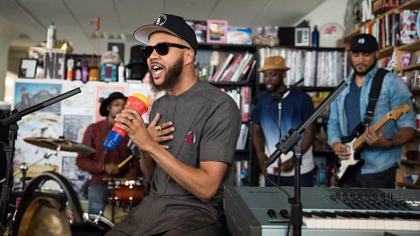 Jidenna performs a Tiny Desk Concert on July 6, 2017. (Photo: Liam James Doyle/NPR)