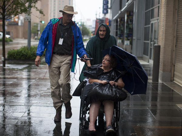 NPR's John Burnett interviews Mel and Barbara Micah, who evacuated from Bellaire, Texas, which is southwest of Houston, on Monday. NPR has interviewed dozens of flood victims, and listeners are curious to know how they're doing now.