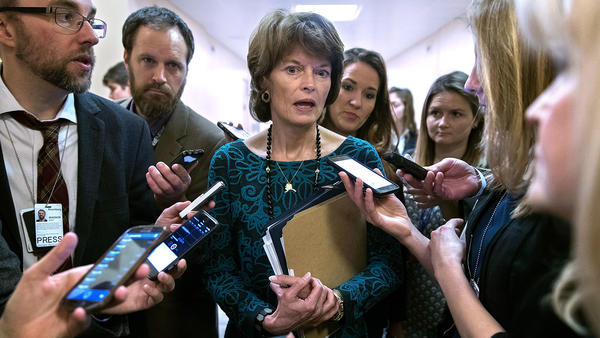 Sen. Lisa Murkowski, R-Alaska, talks with reporters at the U.S. Capitol earlier this year.