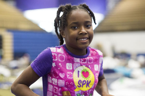 Zada Brown, 10, at the Delco Center shelter. She came with her family from Victoria after Harvey.